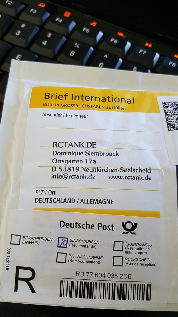 Deutsche Post Brief International Einschreiben